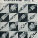 1955 National Watch Company Switzerland Vintage 1955 Swiss Ad Suisse Advert Horology Horlogerie
