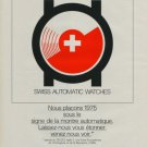 Ebauches SA Switzerland Vintage 1975 Swiss Ad Suisse Advert Horlogerie Horology