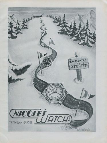 1946 Nicolet Watch Company Tramelan Switzerland Vintage 1946 Swiss Ad Suisse Advert