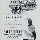 1946 Favre-Leuba Watch Company Vintage 1946 Swiss Ad Suisse Advert Horology Switzerland