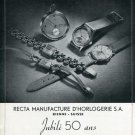 1946 Recta Watch Company Bienne Switzerland Vintage 1946 Swiss Ad Suisse Advert Horology Horlogerie