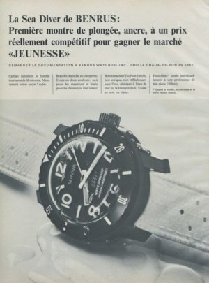 1967 Benrus Watch Company Benrus Sea Diver Advert Swiss Ad Suisse Advert Horlogerie Horology