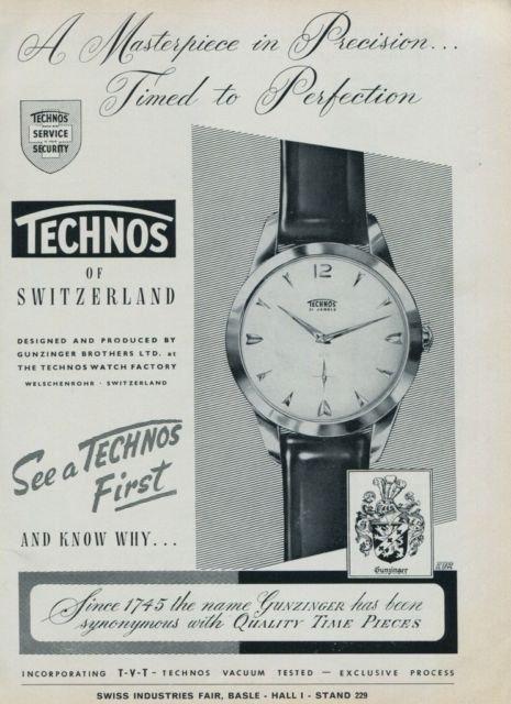 1960 Technos Watch Company Switzerland Vintage 1960 Swiss Ad Suisse Advert Gunzinger Bros