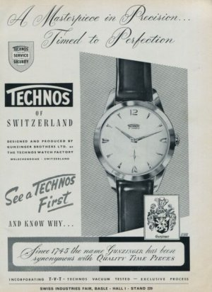 1960 Technos Watch Company Switzerland Vintage 1960 Swiss Ad Suisse Advert Gunzinger Bros