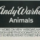 Andy Warhol Animals Vintage 1976 Art Exhibition Ad Arno Schefler Gallery NY