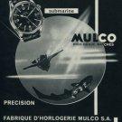 1962 Mulco Watch Company Mulco Submarine Escafandra Advert Vintage 1962 Swiss Ad Suisse Advert