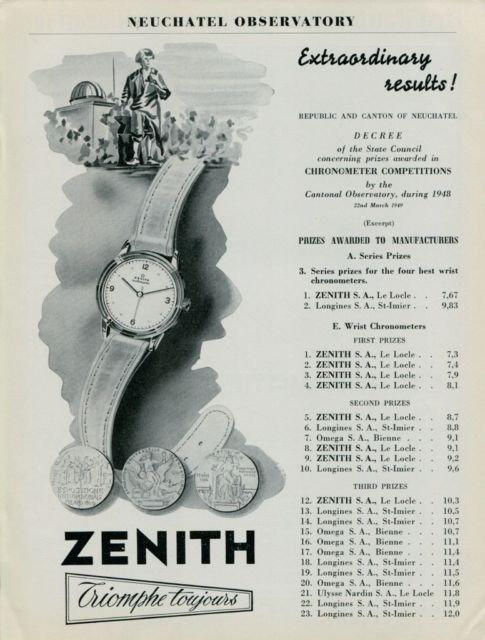1949 Zenith Watch Company Neuchatel Observatory Vintage 1949 Swiss Ad Suisse Advert