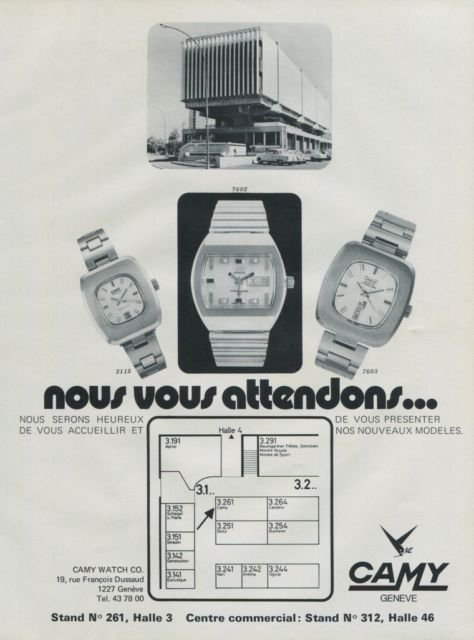 Camy Watch Company Swiss Watch Fair Vintage 1972 Swiss Ad Suisse Advert Horology