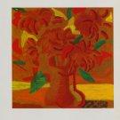 David Hockney Orange Flowers Art Ad Advert