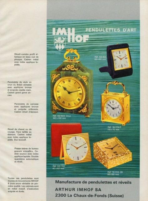 Imhof Clock Company Arthur Imhof S.A. Vintage 1968 Swiss Ad Suisse Advert Horlogerie