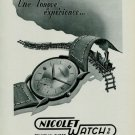 Nicolet Watch Company Vintage 1949 Swiss Ad Suisse Advert Horology Tramelan Switzerland