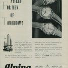Alpina Watch Company Switzerland Original 1950 Swiss Ad Bienne Suisse