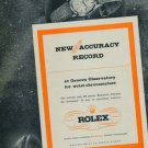 1950 Rolex Watch Company New Accuracy Record Geneva Switzerland 1950 Swiss Ad Suisse Advert