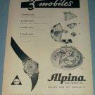 Alpina Watch Company 1955 Swiss Ad Alpina Union Watch Co Bienne Biel Switzerland