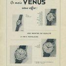 1956 Venus Watch Company La Chaux-de-Fonds Switzerland Vintage 1956 Swiss Ad Suisse Advert