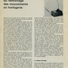 1965 La Mecanisation du Remontage des Mouvements en Horlogerie 1965 Swiss Magazine Article