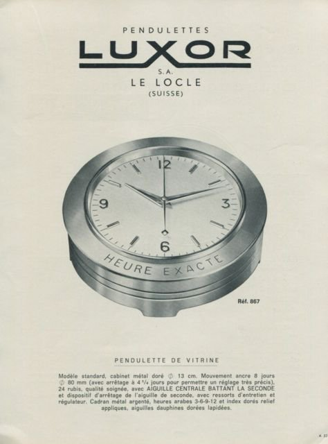 1956 Luxor Clock Company Switzerland Vintage 1956 Swiss Ad Suisse Advert Horology Horlogerie