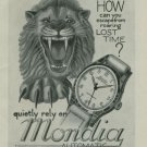 1950 Mondia Watch Company Cave Lion Vintage 1950 Swiss Ad Suisse Advert Horology Horlogerie