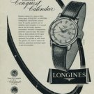 Longines Watch Company Conquest Calendar Advert Vintage 1956 Swiss Ad Suisse Advert
