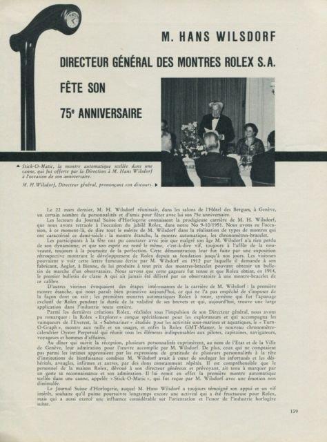 1956 Hans Wilsdorf Rolex Watch Company 75th Anniversary Vintage 1956 Swiss Magazine Article