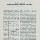 1949 Development of the Controlling System of Wrist Watch 1949 Swiss Magazine Article Horology