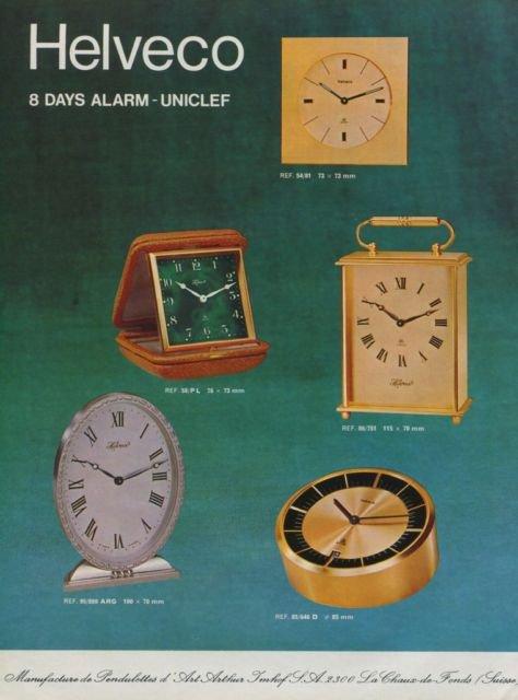 Helveco Clock Company Arthur Imhof S.A. Vintage 1972 Swiss Ad Suisse Advert