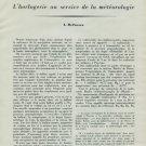 La Radiosonde L'Horlogerie au Service de la Meteorologie by L Defossez 1946 Swiss Magazine Article