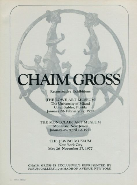 Chaim Gross Vintage 1977 Retrospctive Art Exhibition Ad