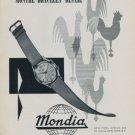 Mondia Watch Company Switzerland 1956 Swiss Ad Suisse Advert Horlogerie Horology