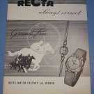 1955 Recta Watch Company Switzerland Vintage 1955 Swiss Ad Suisse Advert Horology