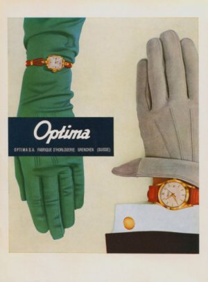 1957 Optima Watch Company Grenchen Switzerland Vintage 1957 Swiss Ad Suisse Advert