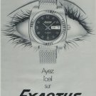 1971 Exactus Watch Company Switzerland Vintage 1971 Swiss Ad Suisse Advert Horology