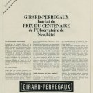 Girard-Perregaux Watch Company Vintage 1967 Swiss Ad Suisse Advert Horology