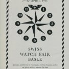 1951 Swiss Watch Fair Basle Switzerland 1950 Swiss Ad Horology Horlogerie Advert