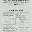 1949 Chronometer Competition Neuchatel + Geneva Observatory 1950 Swiss Magazine Article