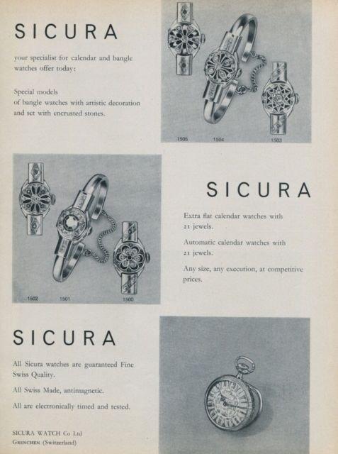 Sicura Watch Company Switzerland 1959 Swiss Ad Suisse Advert Horology Horlogerie