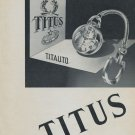 1955 Titus Watch Company Switzerland 1955 Swiss Ad Suisse Advert Titus Titauto Advert