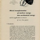 Direct Transformation of Nuclear Energy into Mechanical Energy 1955 Swiss Magazine Article