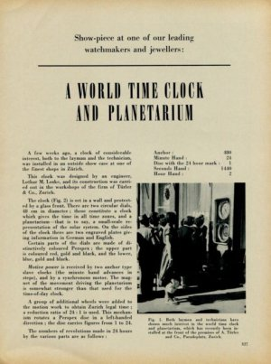 1953 World Time Clock and Planetarium 1953 Swiss Magazine Article Lothar M Loske Turler