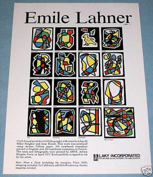 Emile Lahner Vintage 1976 Art Ad Advertisement