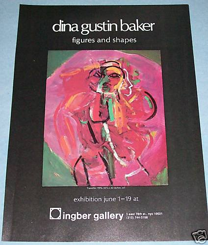 Dina Gustin Baker Vintage 1976 Art Exhibition Ad Figures & Shapes Ingber Gallery, NYC
