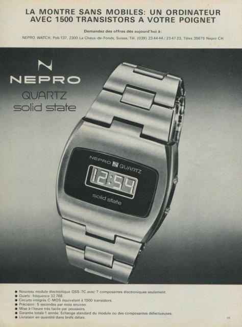 1974 Nepro Watch Company La Chaux-de-Fonds Switzerland Vintage 1974 Swiss Ad Suisse Advert