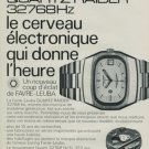 1974 Favre-Leuba Watch Company Quartz Raider Advert Vintage 1974 Swiss Ad Suisse Advert