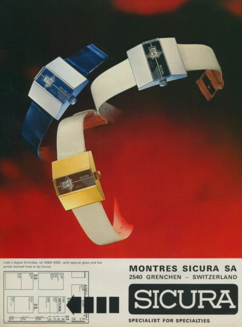 1974 Sicura Watch Company Switzerland Vintage 1974 Swiss Ad Suisse Advert Horology Horlogerie
