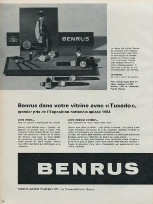 1965 Benrus Watch Company Benrus Tuxedo Advert Vintage 1965 Swiss Ad Suisse Advert Horlogerie