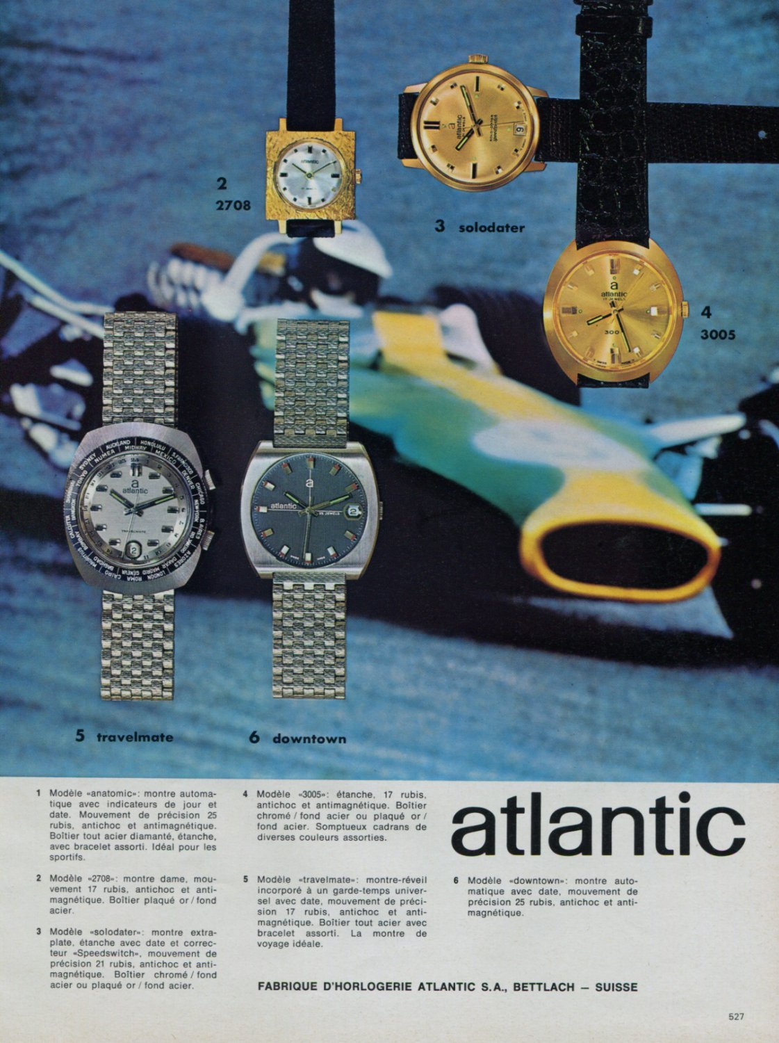 Atlantic Watch Company Switzerland Vintage 1968 Swiss Ad Suisse Advert Horology