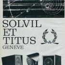 1963 Solvil et Titus Watch Company Soltronic Advert Vintage 1963 Swiss Ad Suisse Advert