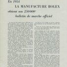 1955 Rolex Obtient 250000e Bulletin Marche Officiel 1955 Swiss Magazine Article