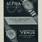 1955 Alpha Watch Company Venus Watch Co Fils P Schwarz-Etienne 1955 Swiss Ad Suisse Advert