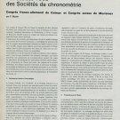 Les Assises 1968 des Societes de Chronometrie 1969 Swiss Magazine Article Horology